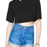 Cropped Top With Contrast Collar
