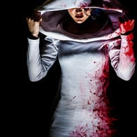 Adult Halloween Costume - Blood Splatter Dress - Apocalypse Zombie Outfit with Hood - Sexy Nurse - Custom To Order