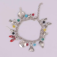 Wizard of Oz Inspired red shoes star umbrella Figure sculpture Charm crystal girls and women sexy bracelets & Bangles jewelry
