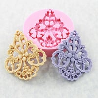 Large Flower Filigree Mold Victorian Mould Resin Mold Earrings 59mm (311)