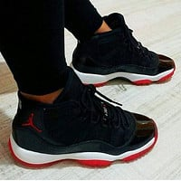 AJ 11 Air Jordan 11 Retro Men Casual Sneakers Sport Basketball Shoes Black&Red