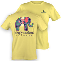 NEW Simply Southern Preppy Elephant SS Logo Girlie Bright T Shirt