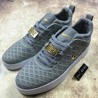 KUYOU N084 Nike 2017 Tiempo Vetta Fashion Net Mid Causal Skate Shoes Grey Gold
