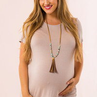 WEB EXCLUSIVE: Basic Maternity Top in Taupe