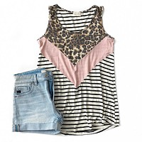 NEW! Leopard, Pink and Stripe V Detail Tank