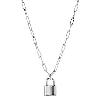 Lock Paper Clip Link Chain Necklace