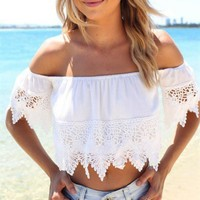 Fashion Summer Blouse Sexy Off the Shoulder Boho Lace White Blouse Off Shoulder Crop Tops S M L XL