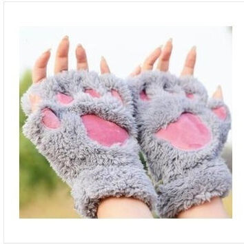 Fluffy Bear/Cat Plush Paw/Claw Glove-Novelty  Halloween soft toweling lady's half covered gloves mittens = 1929551236