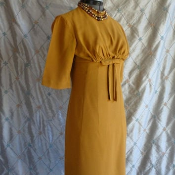 ON SALE 50s Dress // 60s Dress // Vintage 1950s 1960s Mustard Yellow Day Dress by Teena Paige Fashions Size M