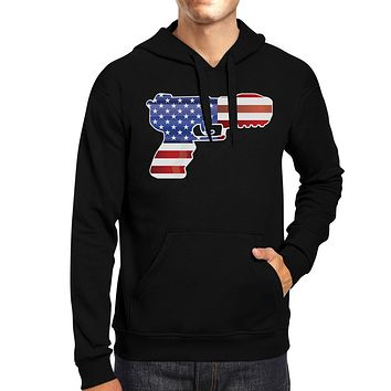 American Flag With Pistol Shape Unisex Black Hoodie For 4th Of July