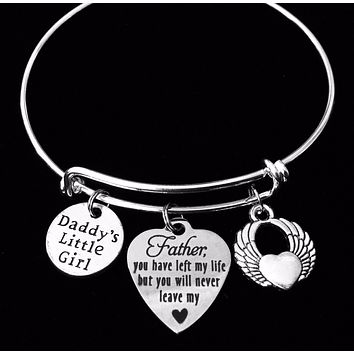 Father Memorial Jewelry Daddy's Little Girl Expandable Charm Bracelet Adjustable Silver Stackable Bangle Trendy One Size Fits All Gift