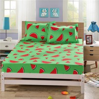 Fruit Polyester Fitted Sheet Mattress Cover Watermelon Banana Printed Bedding Linens Bed Sheets With Elastic Band sabanas YMBS10