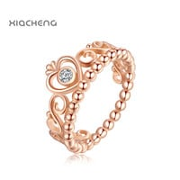 Ningbo Pandora 100% 925 Sterling Gold Ring With Crystal Crown Fashion Ring For Women Wedding Rings Jewelry R26G