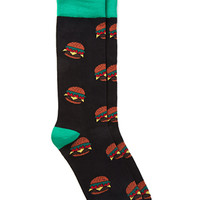 Burger Print Socks Black/Cream One