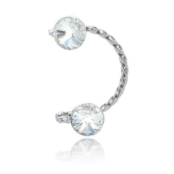 Silvertone with Clear Ear Cuff Round Stone Earring