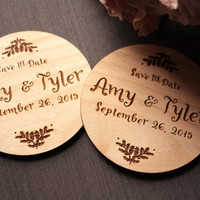 Custom Save the Date Cards - Rustic Round Wooden Save the Date