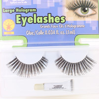 Black Silver Large Hologram Faux Eyelashes