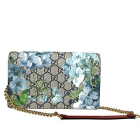Gucci Womens Blooms Crossbody Wallet Chain Shoulder Bag