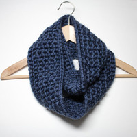 Blue Infinity Scarf, Crochet Scarf, Chunky Cowl, Circle Scarf, Women's Neckwarmer, Winter Accessory