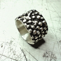 Coral Reef Ring - Abstract Ring - Granulated Ring - Pirate Ring - Recycled Sterling Silver .925
