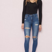 Distressed Retro High Waist Jegging