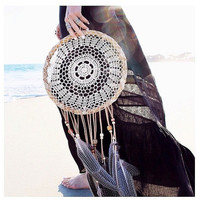 "Large 12"" hoop Dreamcatcher - Crochet Doily Lace Feather Feathers Wood Beads - Unique Dream Catcher Boho Bohemian Gypsy"