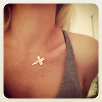 Sideways cross necklace - hammered copper or brass