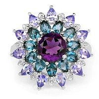 A Natural Purple Amethyst London Blue Topaz & Tanzanite Spring Floral Ring
