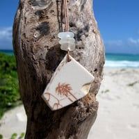 Hawaiian Unique Palm Tree White Beach Pottery with Clear Beach Glass on India Leather Necklace