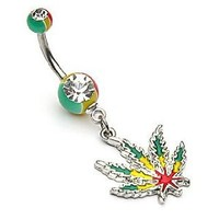 """Amazon.com: 14g Dangling Rasta Pot Leaf Sexy Belly Button Navel Ring Dangle Body Jewelry Piercing with Surgical Steel Bar 14 Gauge 3/8"""" Nemesis Body JewelryTM: Everything Else"""