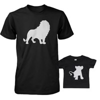 Funny Lion and Cub Matching Dad Shirt and Baby Shirt Cute Animal Graphic Outfit