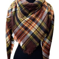 Blanket Scarf in Brown Plaid Autumn Colors