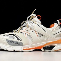 Balenciaga Women Men White/Orange Fashion Casual Low Top Sneakers Sport Shoes Size 36-46