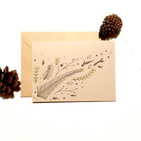 Leaves & Sprigs Hand Illustrated Blank Card with matching envelope