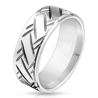 Hatchet - FINAL SALE Cross hatched diamond cut stepped edge stainless steel men's ring