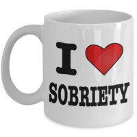 Sobriety Gifts Addiction Recovery Gifts I Love Sobriety Coffee Mug Sobriety Alcoholics Anonymous Coffee Cup Sponsor Gift Sponsee Gift Recovery Gift