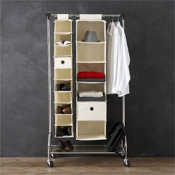 Twill 10-Section Hanging Shoe Bag in Closet | Crate and Barrel