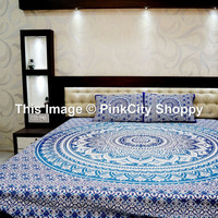 Ombre Mandala Tapestries, Tapestry Wall Hanging, Bohemian Tapestries with 2 pillow cover set, Beach Throw, Hippie Wall decor Indian Tapestry