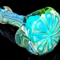 Eden In Winter - Cool Ice Blue and Green Inside Out Color Silver Fumed Glass Smoking Pipe - Ultra Thick Pyrex Spoon Bowl with Huge Flower