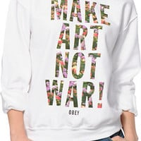 Obey MANW Floral Fill White Throwback Crew Neck Sweatshirt