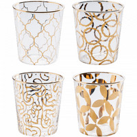 Luxe Moderne Double Old-Fashioned Glasses, Set of 4