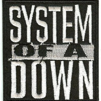 System Of A Down Iron-On Patch White Letters Logo