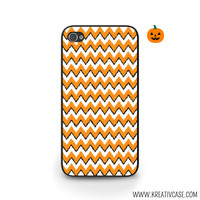 Halloween Phone Case, Ikat Chevron, Orange and Black, iPhone Case, iPhone 4, iPhone 5, Blackberry, Samsung S5, Phone Cover - H003