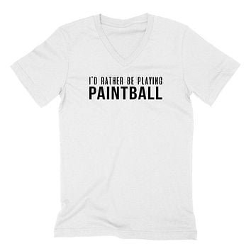 I'd rather be playing paintball  V Neck T Shirt