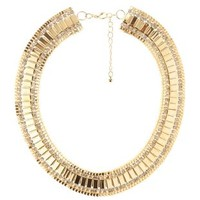 Gold Rhinestone & Metal Choker Necklace by Charlotte Russe