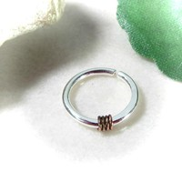 Silver Nose Ring with Gunmetal Hammered & Wrapped