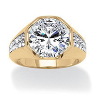 Men's 2.00 TCW Round Cubic Zirconia 14k Yellow Gold-Plated Chevron Ring on PalmBeach Jewelry
