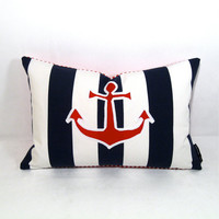 Nautical Pillow Cover  Anchor Red White Blue by Mazizmuse on Etsy