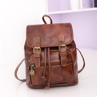 Vintage Pu Leather Small Backpack