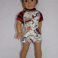 18 inch doll clothes, baseball style mini dress, fitted mini dress, paisley print mini dress ,  american girl, Maplelea